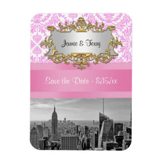 NYC Skyline BW D4P Pink Damask Save the Date Rectangle Magnets