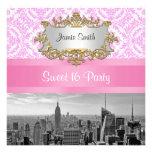 NYC Skyline BW D4P Pink Damask Sweet 16 Party Custom Invitations