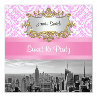 NYC Skyline BW D4P Pink Damask Sweet 16 Party 5.25x5.25 Square Paper Invitation Card