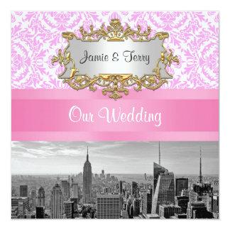 NYC Skyline BW D4P Pink Damask Wedding Invitation