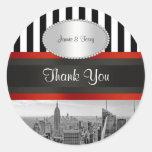 NYC Skyline BW ESB Black White Stripe P Favor Tags Stickers