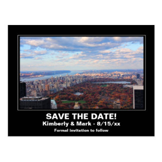 NYC Skyline Central Park From Above Save the Date Postcard
