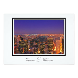 NYC Skyline Central Park From Above Sunset Wedding 5x7 Paper Invitation Card