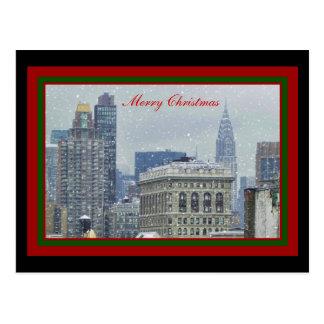 NYC Skyline Chrysler Bldg, Flatiron Snow Christmas Postcard