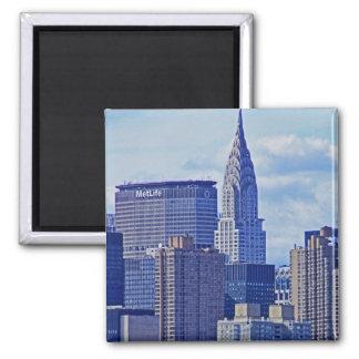 NYC Skyline: Chrysler Building, Met Life B1 2 Inch Square Magnet