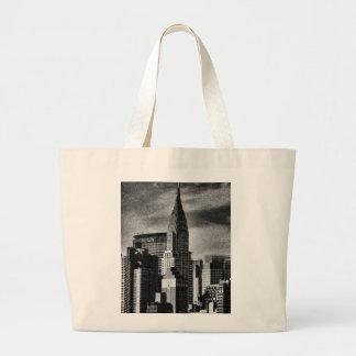 NYC Skyline: Chrysler Building, Met Life BW Tote Bag