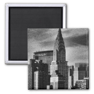NYC Skyline: Chrysler Building, Met Life BW 2 Inch Square Magnet