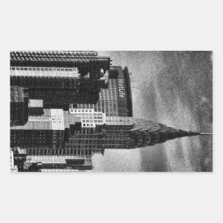 NYC Skyline: Chrysler Building, Met Life BW Rectangular Sticker