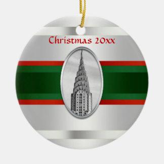 NYC Skyline: Chrysler Building Xmas #3W Ceramic Ornament