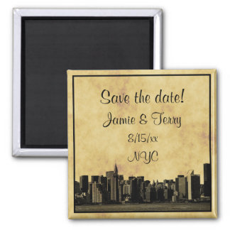 NYC Skyline Chrysler Citi Etched 01 Save the Date 2 Inch Square Magnet