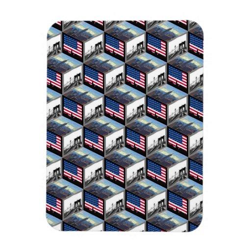 NYC Skyline Cubes Empire St Bldg Bklyn Bridge Magnets