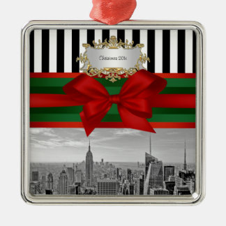 NYC Skyline Empire St Bldg Xmas Blk Wht Strp #2 Metal Ornament