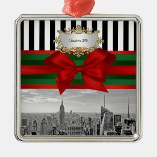 NYC Skyline Empire St Bldg Xmas Blk Wht Strp #2 Metal Ornament