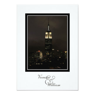 NYC Skyline Empire State Bldg Night Fog Wedding Card