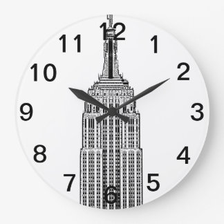 NYC Skyline - Empire State Building 2Etched look Large Clock
