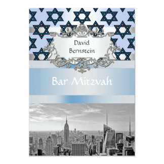 "NYC Skyline Empire State Building Bar Mitzvah #1 5"" X 7"" Invitation Card"