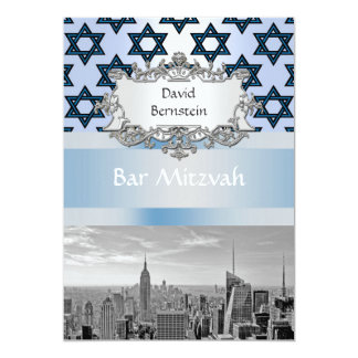 "NYC Skyline Empire State Building Bar Mitzvah #2 5"" X 7"" Invitation Card"