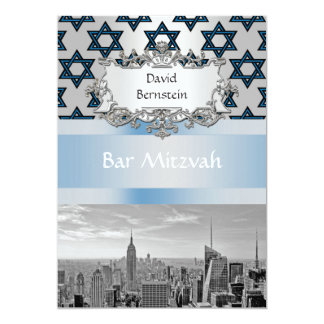 "NYC Skyline Empire State Building Bar Mitzvah #3 5"" X 7"" Invitation Card"