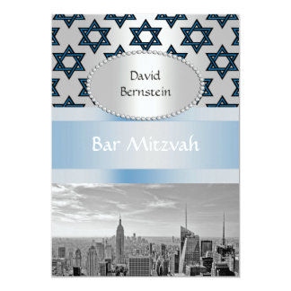 "NYC Skyline Empire State Building Bar Mitzvah #3P 5"" X 7"" Invitation Card"