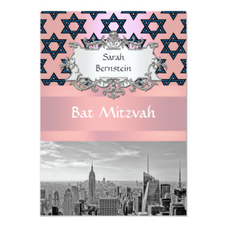 "NYC Skyline Empire State Building Bat Mitzvah #2 5"" X 7"" Invitation Card"