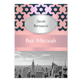 "NYC Skyline Empire State Building Bat Mitzvah #2P 5"" X 7"" Invitation Card"