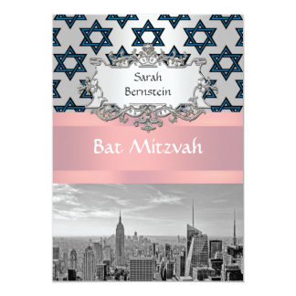 "NYC Skyline Empire State Building Bat Mitzvah #3 5"" X 7"" Invitation Card"