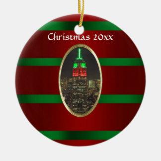 NYC Skyline: Empire State Building Night Xmas #6R Ceramic Ornament