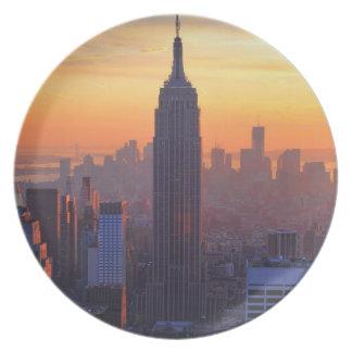 NYC Skyline: Empire State Building Orange Sunset 2 Dinner Plate