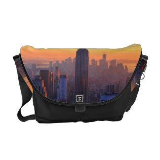 NYC Skyline: Empire State Building Orange Sunset 2 Messenger Bags