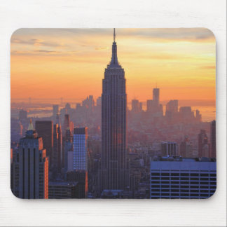 NYC Skyline: Empire State Building Orange Sunset 2 Mouse Pad