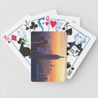 NYC Skyline: Empire State Building Orange Sunset 2 Bicycle Poker Deck