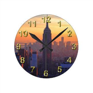 NYC Skyline: Empire State Building Orange Sunset 2 Round Clock