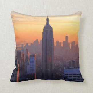 NYC Skyline: Empire State Building Orange Sunset 2 Throw Pillow