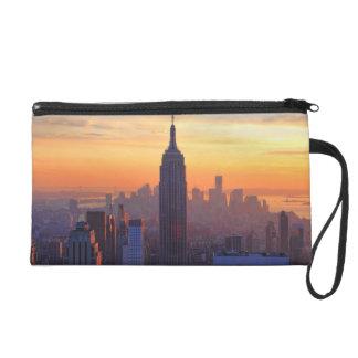 NYC Skyline: Empire State Building Orange Sunset 2 Wristlet