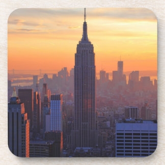 NYC Skyline: Empire State Building Orange Sunset Coasters