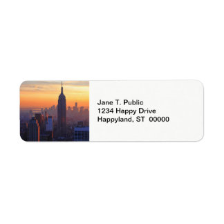 NYC Skyline: Empire State Building Orange Sunset Label