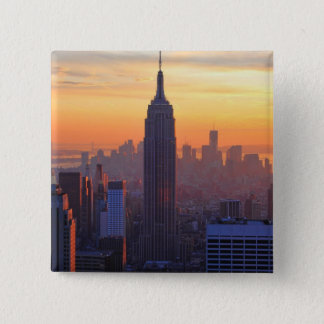 NYC Skyline: Empire State Building Orange Sunset Pinback Button