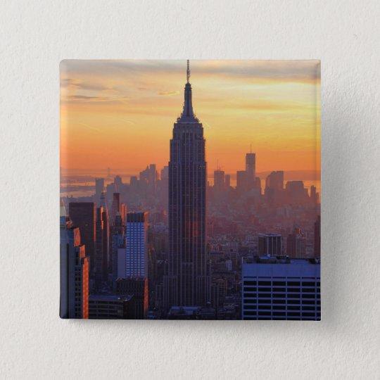 NYC Skyline: Empire State Building Orange Sunset Pinback Button
