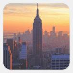 NYC Skyline: Empire State Building Orange Sunset Square Stickers