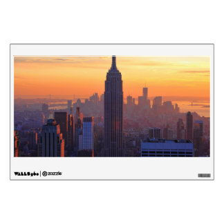 NYC Skyline: Empire State Building Orange Sunset Wall Decal