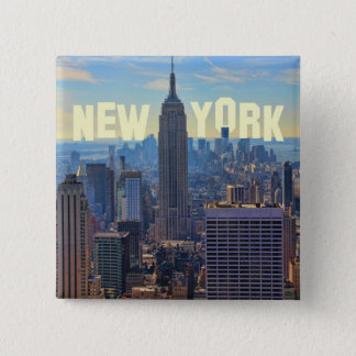 NYC Skyline Empire State Building, World Trade 2C Button