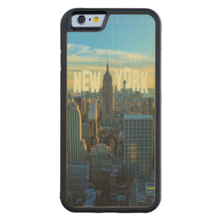 NYC Skyline Empire State Building, World Trade 2C Carved® Maple iPhone 6 Bumper Case