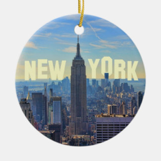 NYC Skyline Empire State Building, World Trade 2C Double-Sided Ceramic Round Christmas Ornament