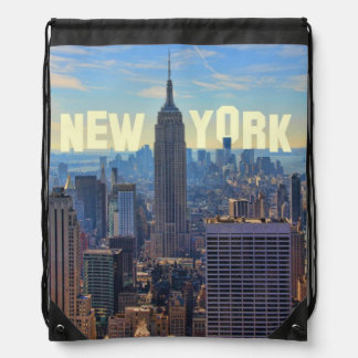 NYC Skyline Empire State Building, World Trade 2C Drawstring Backpack
