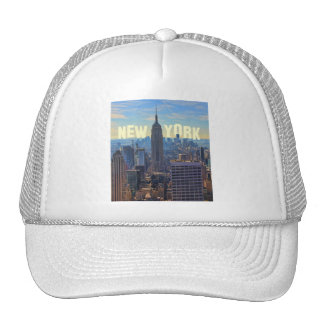 NYC Skyline Empire State Building, World Trade 2C Mesh Hats
