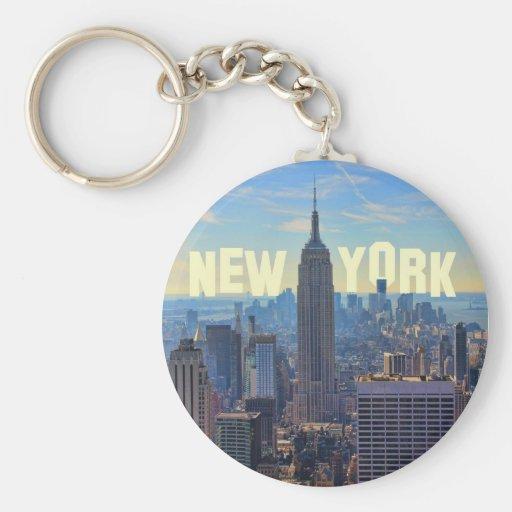 NYC Skyline Empire State Building, World Trade 2C Keychain