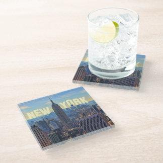 NYC Skyline Empire State Building World Trade 2C L Glass Coaster