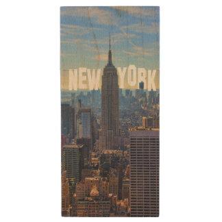 NYC Skyline Empire State Building World Trade 2C L Wood USB Flash Drive