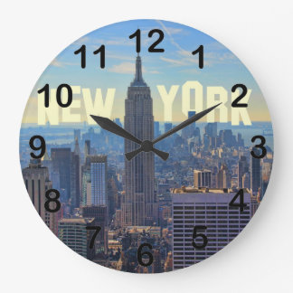 NYC Skyline Empire State Building, World Trade 2C Large Clock