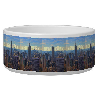 NYC Skyline Empire State Building, World Trade 2C Pet Food Bowl